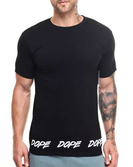 Dope - Men Black Tagged Hem Tee