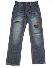 Bottoms - DISTRESSED JEANS W/ AZTEC TRIM (8-20)