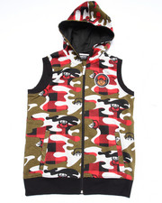 Hoodies - CAMO HOODED VEST (8-20)