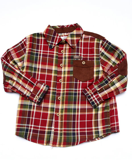 Parish - Boys Maroon L/S Plaid Woven (2T-4T)