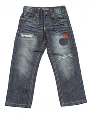 Boys - DISTRESSED JEANS W/ AZTEC TRIM (4-7)