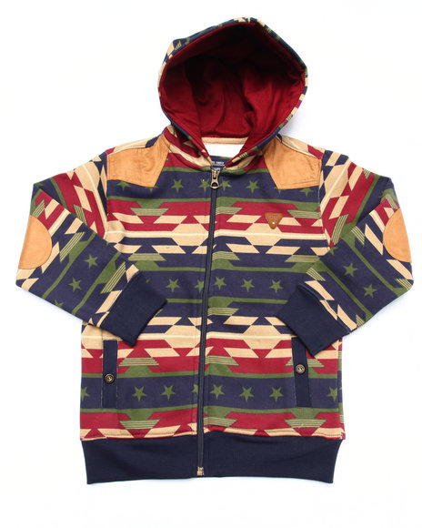 Parish - Boys Navy Aztec Full Zip Hoody (4-7) - $26.99