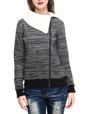 Women - Marled Fleece Sherpa Lined Zip Up Jacket