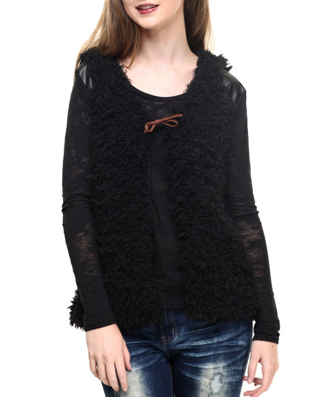 Fashion Lab - Women Black Faux Fur Vest W/ Rawhide Tie Detail