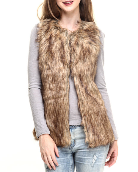 Fashion Lab - Women Brown Front Faux Fur Shearling Back Vest - $35.00