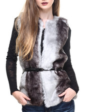 Women - Front Faux Fur Shearling Back Vest