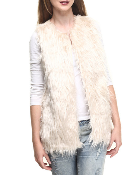 Fashion Lab - Women Beige,Cream Front Faux Fur Shearling Back Vest - $27.99