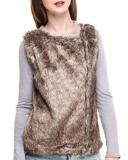 Vests - Front Faux Fur Diagonal Zip Vest