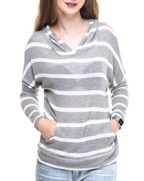 Fashion Lab - Women Cream,Grey Lightweight Stripe Hoodie - $8.99