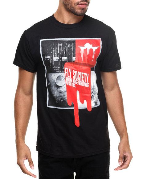 Flysociety - Men Black Drip T-Shirt