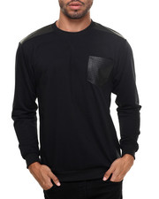 Basic Essentials - L/S French Terry Crew Neck Pullover w/ Faux Leather Trim