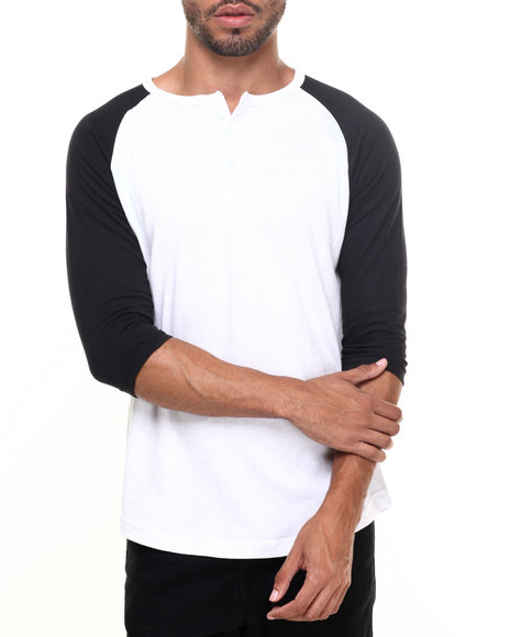 Basic Essentials - Men Black,White 3/4 Raglan Sleeve Henley T-Shirt