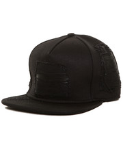 Accessories - Black Denim/Leather Biker Strapback