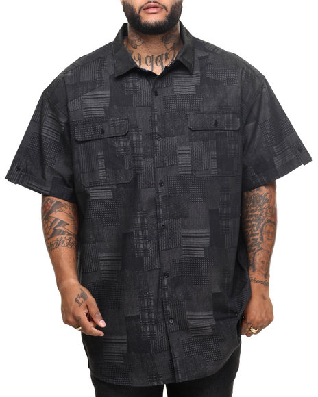 Sean John - Men Black Printed Patchwork S/S Button - Down