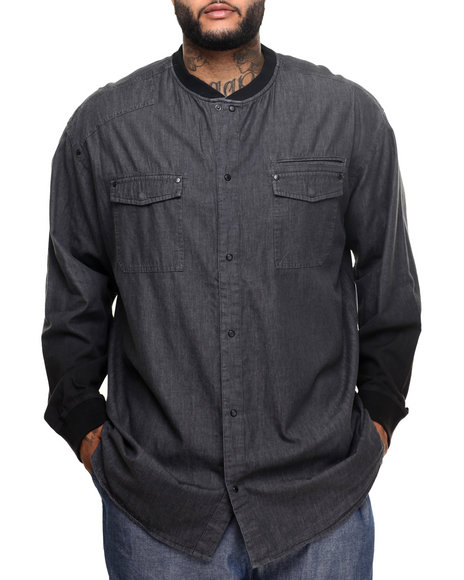 Sean John - Men Grey Dip - Dye Sleeve L/S Denim Shirt Jacket