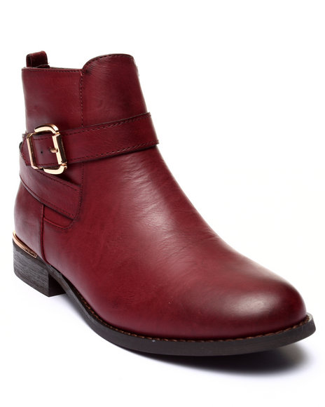 Fashion Lab - Women Maroon Tavern Buckle Shootie