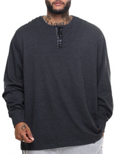 Men - Leather - Trimmed L/S Henley