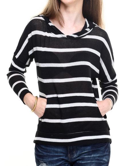 Fashion Lab - Women Black Lightweight Stripe Hoodie - $9.99