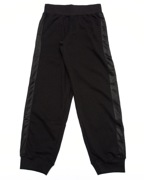 Srsly Fly - Boys Black French Terry Joggers W/ Mesh Overlay (8-20)