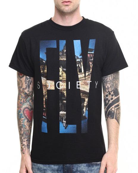 Flysociety - Men Black Grind Town T-Shirt