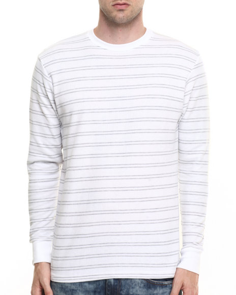 Basic Essentials - Men Grey,White Crew Neck Yarn Dyed Stripe Thermal