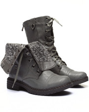 Fashion Lab - Crowley Lace Up Foldover Knit Inside Boot