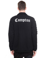 Jackets & Coats - Compton Shredded Sleeve Zip Up Jacket