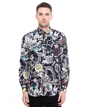 Button-downs - All over tattoo print shirt
