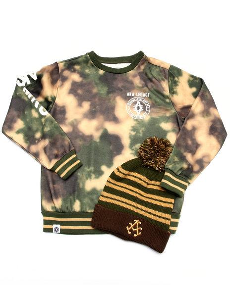 Akademiks - Boys Camo Spray Camo Sweatshirt W/ Pom Pom Hat (8-20)