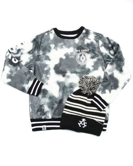 Akademiks - Boys Black Spray Camo Sweatshirt W/ Pom Pom Hat (8-20)