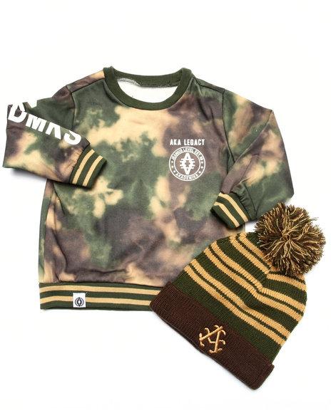 Akademiks - Boys Camo Spray Camo Sweatshirt W/ Pom Pom Hat (2T-4T)