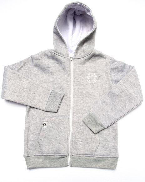 Akademiks - Boys Light Grey Full Zip Fleece Hoody (4-7)