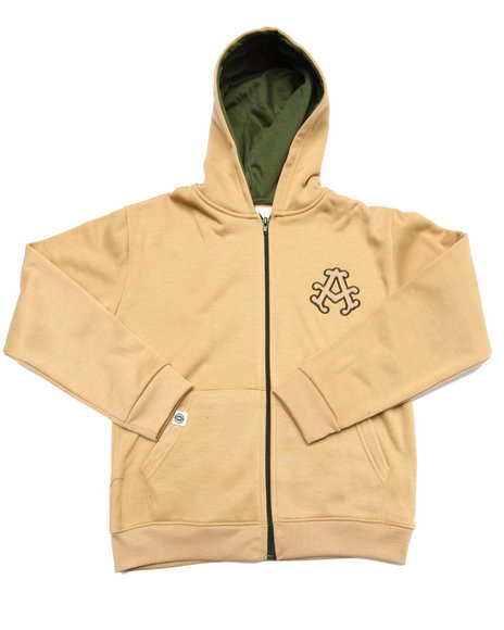 Akademiks - Boys Khaki Full Zip Fleece Hoody (8-20)