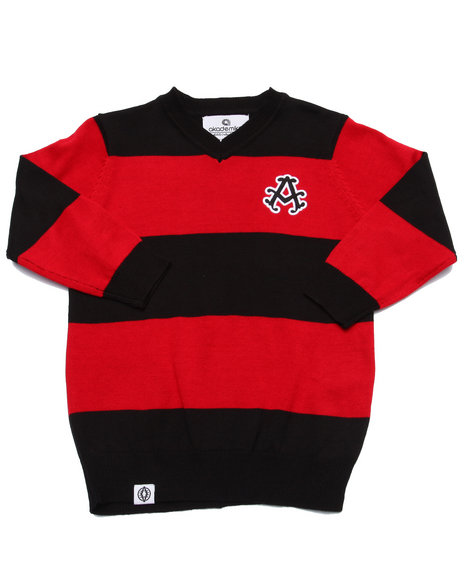 Parish - Boys Red V-Neck Striped Sweater (2T-4T) - $23.99
