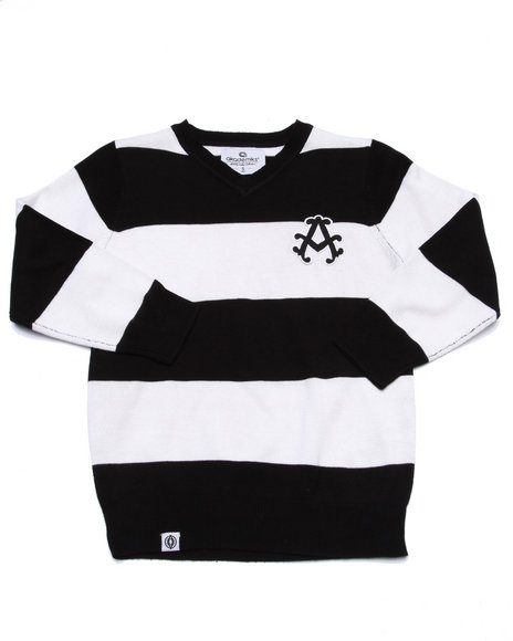 Akademiks - Boys Black V-Neck Striped Sweater (4-7)