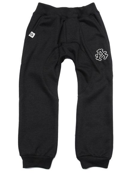 Akademiks - Boys Black Fleece Drop Crotch Joggers (4-7)