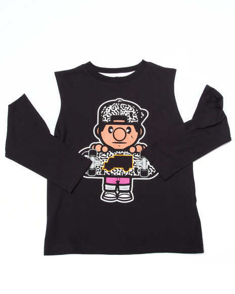 Trukfit - Boys Black L/S Lil' Tommy Skate Animal Tee (4-7)