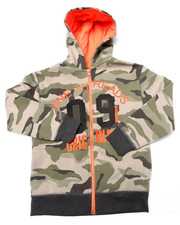 Hoodies - CAMO FULL ZIP HOODY (8-20)