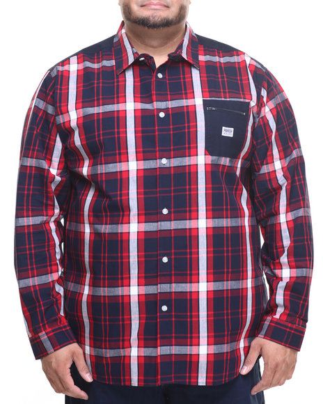 Parish - Men Navy L/S Plaid Button-Down (B&T)
