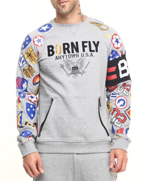 Born Fly - Men Grey Polk Raglan Crew Sweatshirt