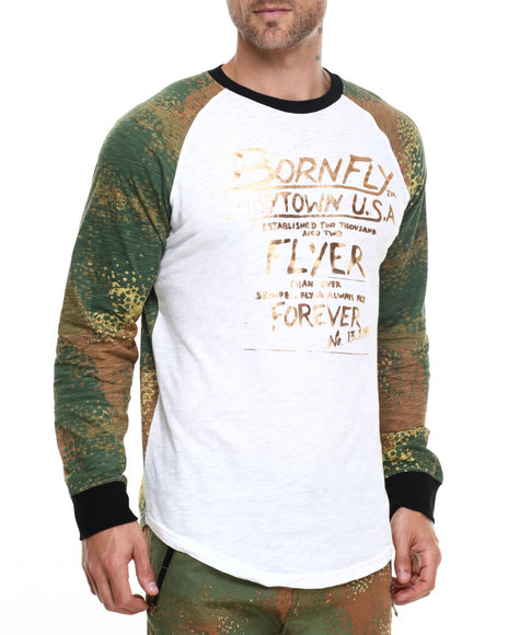 Born Fly - Men Camo,Cream Sahara Raglan Tee