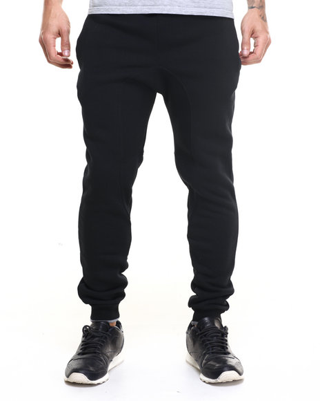 Basic Essentials - Men Black,Grey Fleece Jogger Pants W/ Contrast Trim
