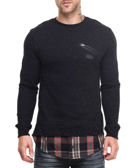 Parish - Men Black Speckle Sweatshirt - $62.00
