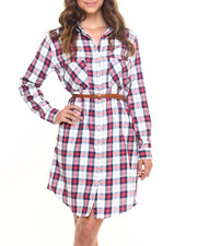 Polos & Button-Downs - Plaid Long Sleeve Belted Tunic Shirt