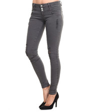 Bottoms - Destructed Yoke Front Skinny Jean