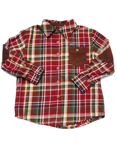 Parish - Boys Maroon L/S Plaid Woven (4-7)