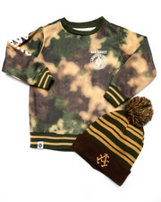 Boys - SPRAY CAMO SWEATSHIRT W/ POM POM HAT (4-7)