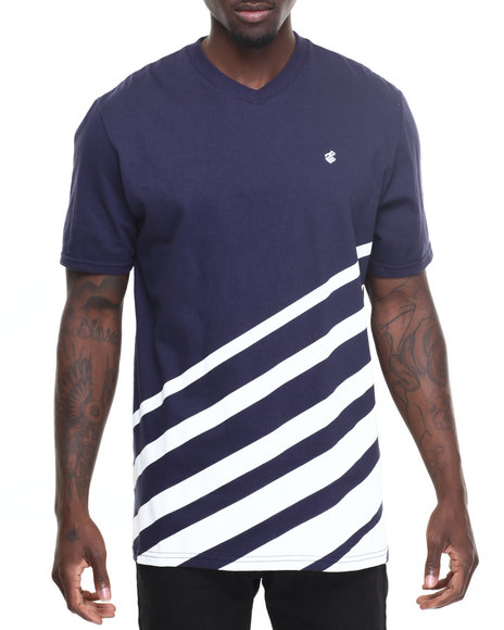Rocawear - Men Navy Fading Stripe Tee
