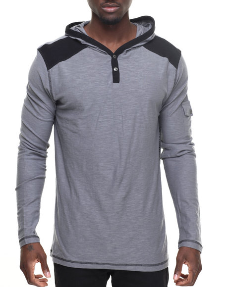 Buyers Picks - Men Grey Popover Hoodie W Placket Detail