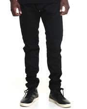 Men - Square Zero Wax - Coated Moto - Style Denim Jeans